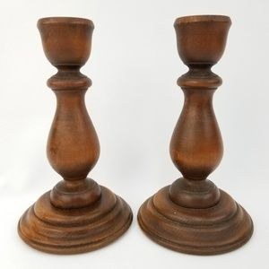 Other - Pair Country Chic Wooden Candle Stick Holders